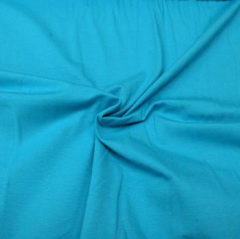 Stretch Jersey Knit Fabric - Plain Turquoise - 95% Cotton 5% Lycra Half Metre