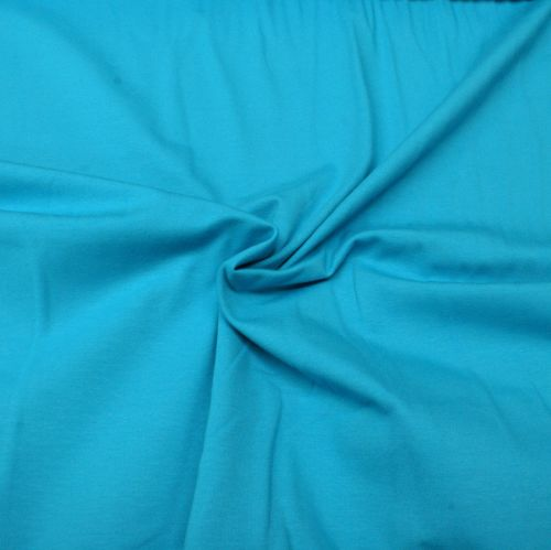 Stretch Jersey Knit Fabric - Plain Turquoise - 95% Cotton 5% Lycra Half Met