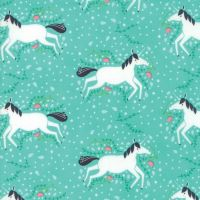 Moda Fabric - Enchanted - Unicorns Galore - Green - 100% Cotton
