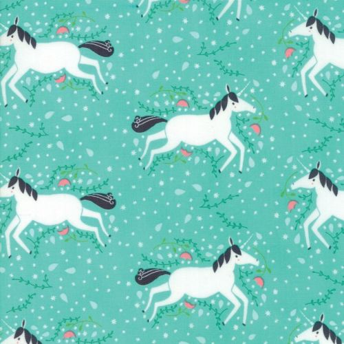 Moda Fabric - Enchanted - Unicorns Galore - Green - 100% Cotton
