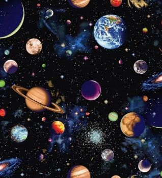 Nutex Fabric - Solar System - Planet Panel 60cm - 100% Cotton