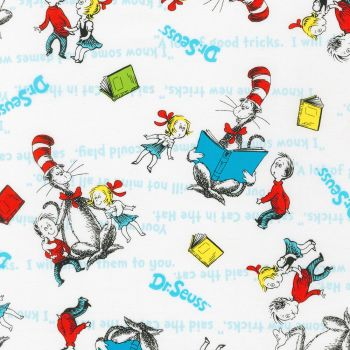 Dr Seuss Fabric - Cat in The Hat - White - 100% Cotton - 1/4m+