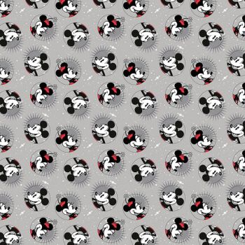 Disney Fabric - Mickey Mouse - Smile - Grey - 100% Cotton