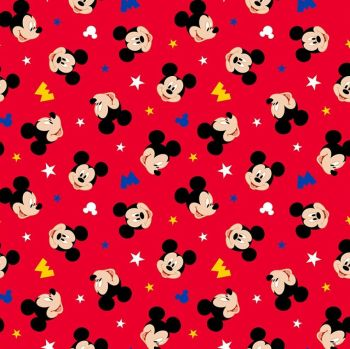 Disney Fabric - Mickey Mouse - Head Toss - Red - 100% Cotton
