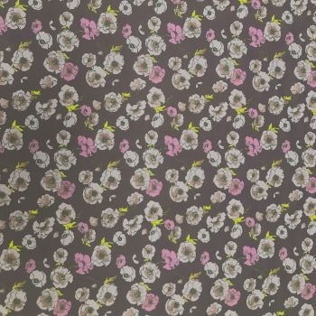 Wide Cotton Poplin Fabric - 145cm wide - Purple Floral - 100% Cotton - Half Metre
