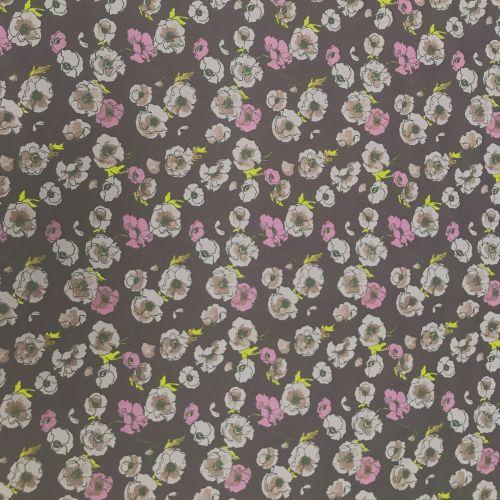 Wide Cotton Poplin Fabric - 145cm wide - Purple Floral - 100% Cotton - Half