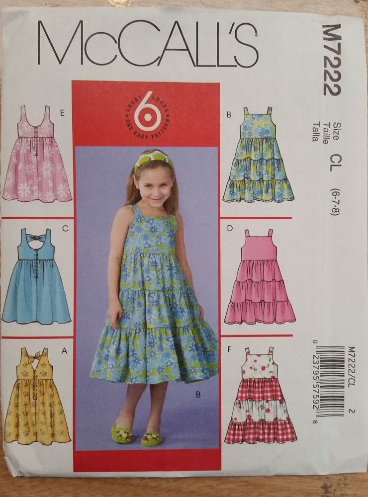 McCalls Pattern - M7222 - Girls Dresses - Age 6-8