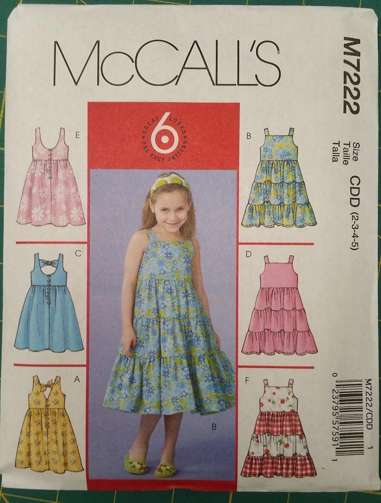 McCalls Pattern - M7222 - Girls Dresses - Age 2-5