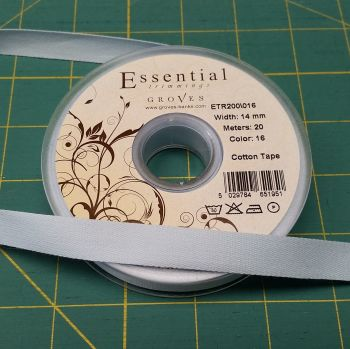 Essential Trimmings - 14mm Cotton Tape - Baby Blue - per metre