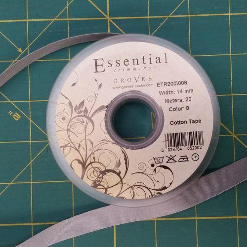 Essential Trimmings - 14mm Cotton Tape - Grey - per metre