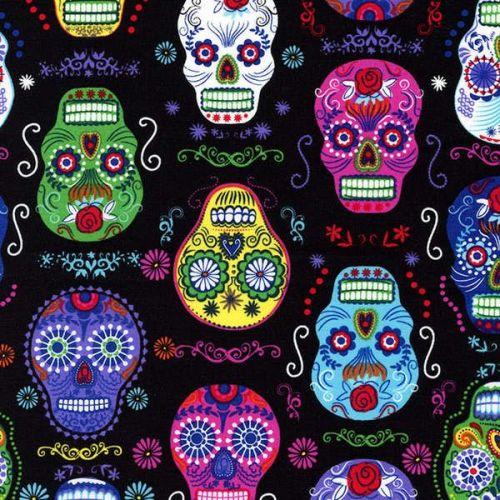 Timeless Treasures Fabric - Colourful Skulls - Black - 100% Cotton 1/4m+