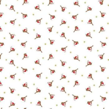 Makower Fabric - Silent Night Christmas - Metallic Robins - 100% Cotton
