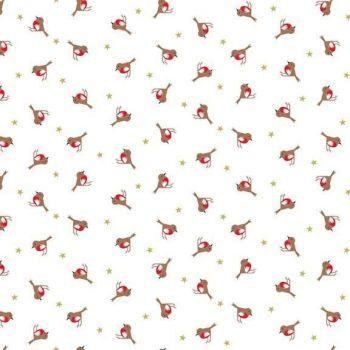 Makower Fabric - Silent Night Christmas - Metallic Robins - 100% Cotton