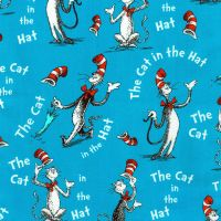 Dr Seuss Fabric - Cat in The Hat - Blue - 100% Cotton