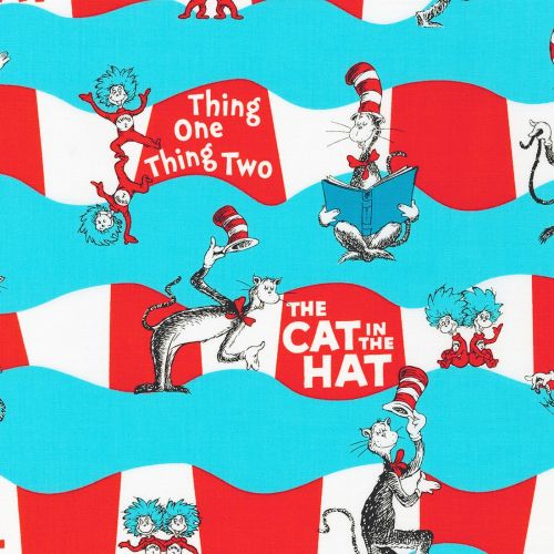 Dr Seuss Fabric - Cat in The Hat - Aqua Character Stripe - 100% Cotton