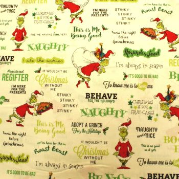 Dr Seuss Fabric - How The Grinch Stole Christmas - Words - White - 100% Cotton
