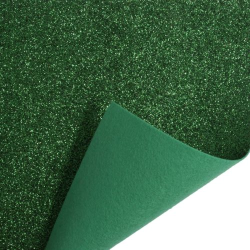 Glitter Felt Fabric Sheet - Green - 100% Polyester - Rectangular Sheet