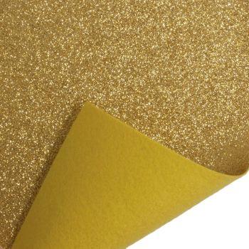Glitter Felt Fabric Sheet - Gold - 100% Polyester - x2 Sheets