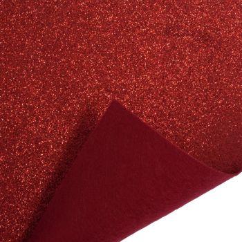 Glitter Felt Fabric Sheet - Red - 100% Polyester - x2 Sheets