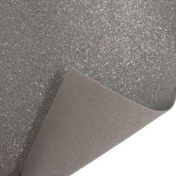 Glitter Felt Fabric Sheet - Silver - 100% Polyester - x2 Sheets
