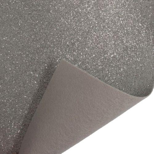 Glitter Felt Fabric Sheet - Silver - 100% Polyester - Rectangular Sheet