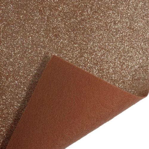 Glitter Felt Fabric Sheet - Rose Gold - 100% Polyester - Half Metre