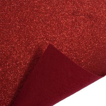 Glitter Felt Fabric - Red - 100% Polyester - Half Metre
