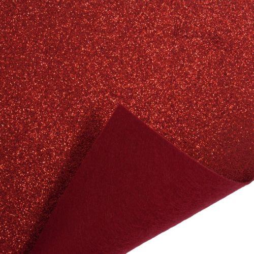 Glitter Felt Fabric Sheet - Red - 100% Polyester - Half Metre