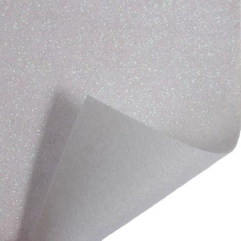 Glitter Felt Fabric - White - 100% Polyester - Half Metre