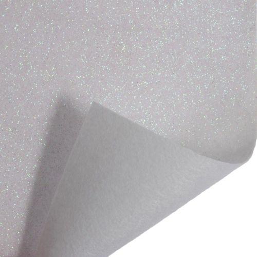 Glitter Felt Fabric Sheet - White - 100% Polyester - Half Metre