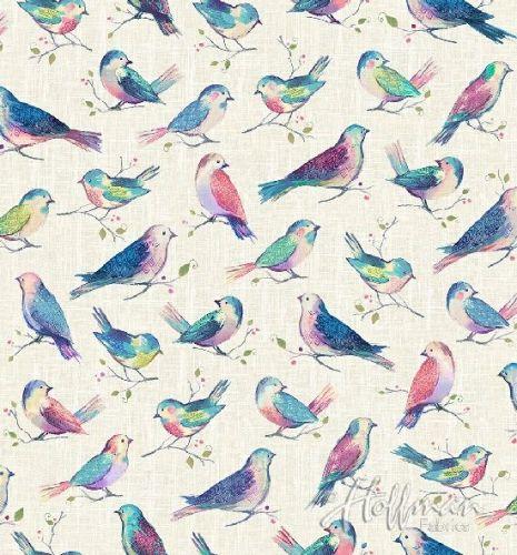 Hoffman Fabric - All a Flutter Birds - Digital Print - 100% Cotton - 1/4m+