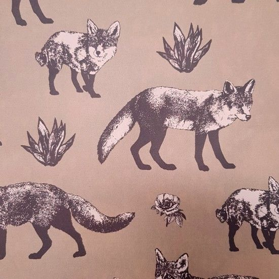 Japanese Import Fabric - Foxes - Brown - 100% Oxford Cotton