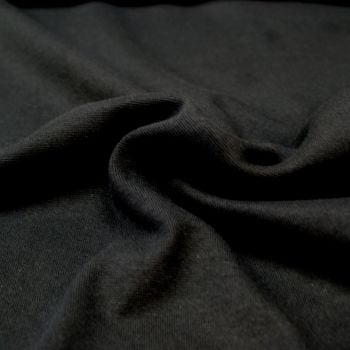Stretch Ribbing/Collar/Cuff Fabric - Plain Black LW - 95% Cotton 5% Lycra Half Metre