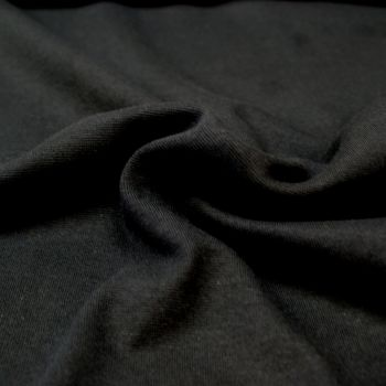 Stretch Ribbing/Collar/Cuff Fabric - Plain Black LW - 96% Cotton 4% Lycra Half Metre