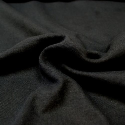 Stretch Ribbing/Collar/Cuff Fabric - Plain Black LW - 96% Cotton 4% Lycra H