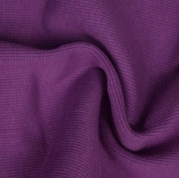 Stretch Ribbing/Collar/Cuff Fabric - Plain Purple HW - 95% Cotton 5% Lycra Half Metre