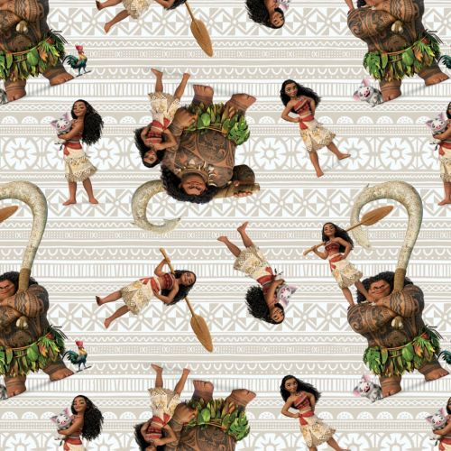 Disney Fabric - Moana & Friends - Cream - 100% Cotton