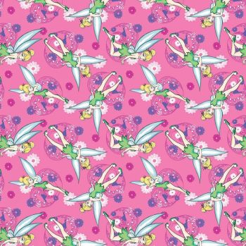Disney Fabric - Tinkerbell Allover - Pink - 100% Cotton - 1/4m+