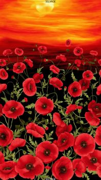 Timeless Treasures Fabric - Poppy Sunset Panel - 100% Cotton