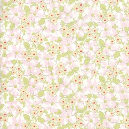 Moda Fabric - Amberley - Floral Field - White - 100% Cotton - 1/4m+