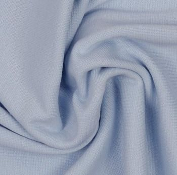 Stretch Ribbing/Collar/Cuff Fabric - Baby Blue LW - 96% Cotton 4% Lycra Half Metre