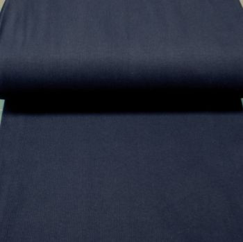 Stretch Ribbing/Collar/Cuff Fabric - Plain Navy HW - 97% Cotton 3% Lycra Half Metre