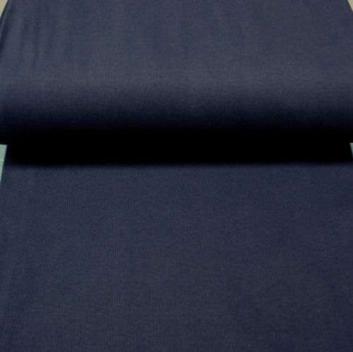 Stretch Ribbing/Collar/Cuff Fabric - Plain Navy HW - 97% Cotton 3% Lycra Ha