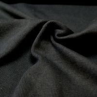 Stretch Ribbing/Collar/Cuff Fabric - Plain Black HW - 97% Cotton 3% Lycra Half Metre
