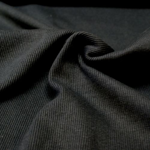 Stretch Ribbing/Collar/Cuff Fabric - Plain Black HW - 97% Cotton 3% Lycra H