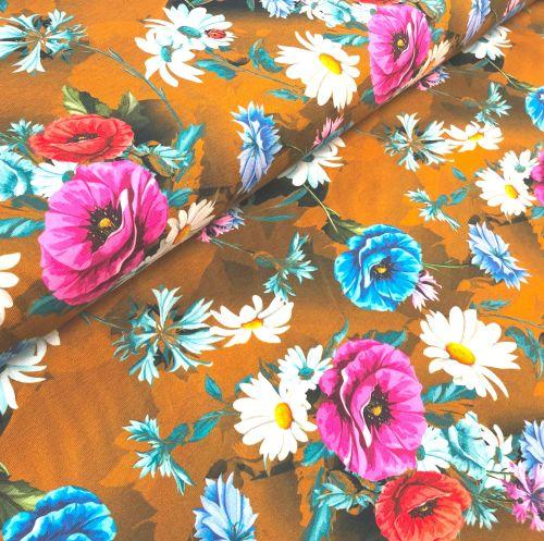 Stretch Jersey Knit Fabric - Digital Floral Mustard - 95% Cotton 5% Lycra H