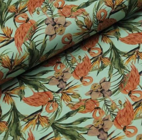 Stretch Jersey Knit Fabric - Digital Flamingoes Mint - 95% Cotton 5% Lycra