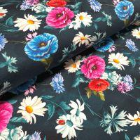 Stretch Jersey Knit Fabric - Digital Floral Marine - 95% Cotton 5% Lycra Half Metre