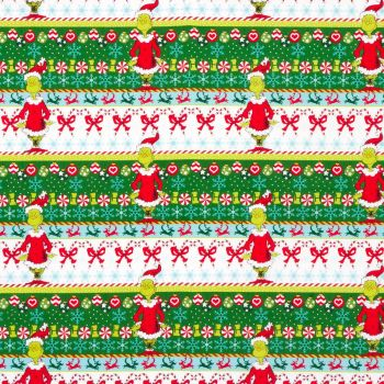 Dr Seuss Fabric - How The Grinch Stole Xmas - Border Stripe - 100% Cotton