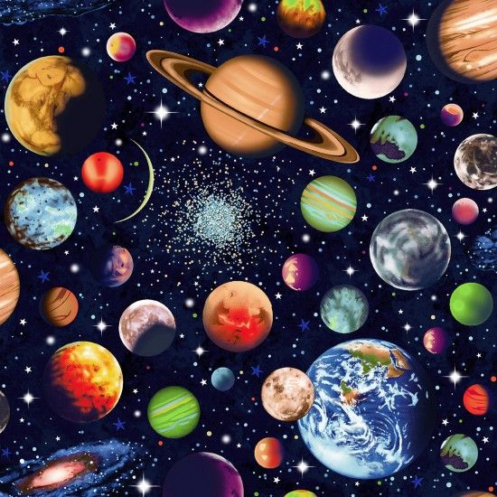 Nutex Fabric - Planets - Scattered - 100% Cotton - 1/4m+